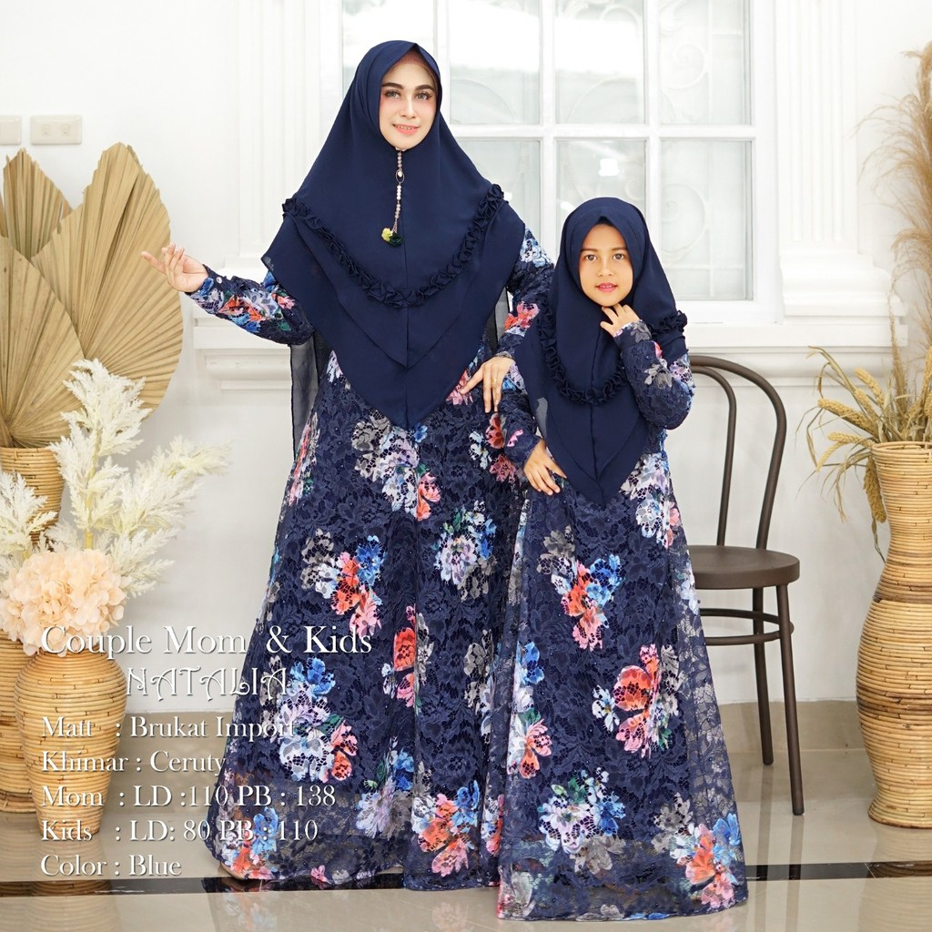Gamis couple brokat natalia navy