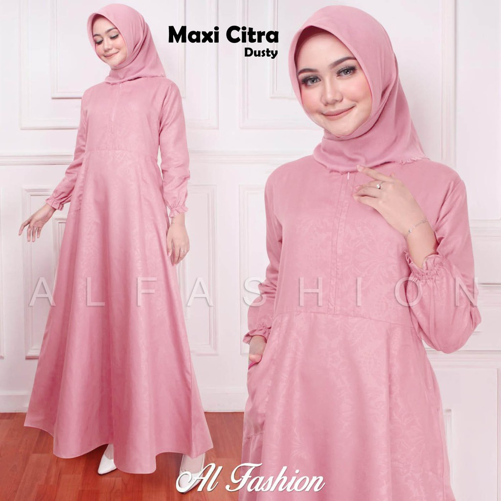 Gamis katun embos citra dusty
