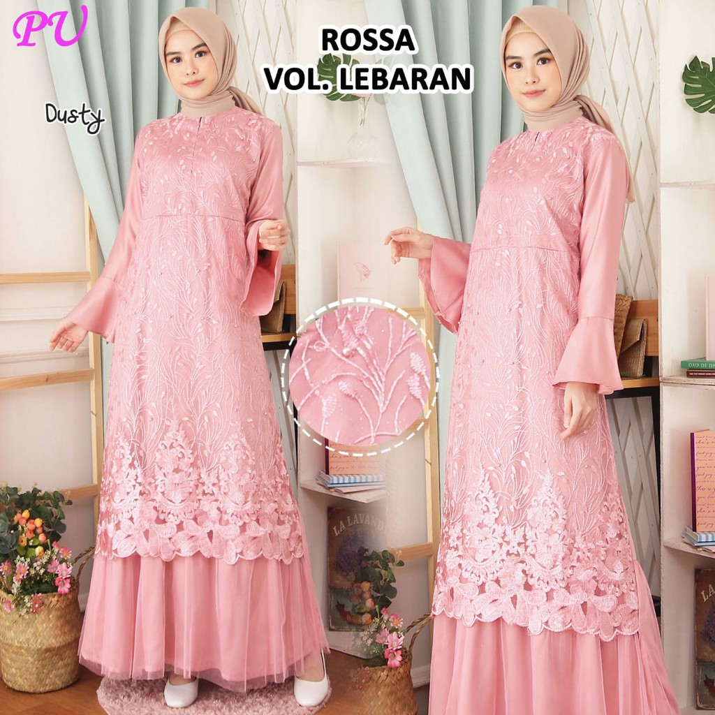 Model gamis lebaran rossa lonceng dusty
