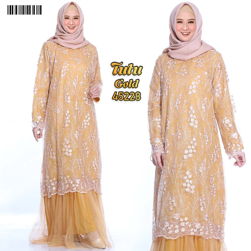 Gamis dress party tutu xxl gold