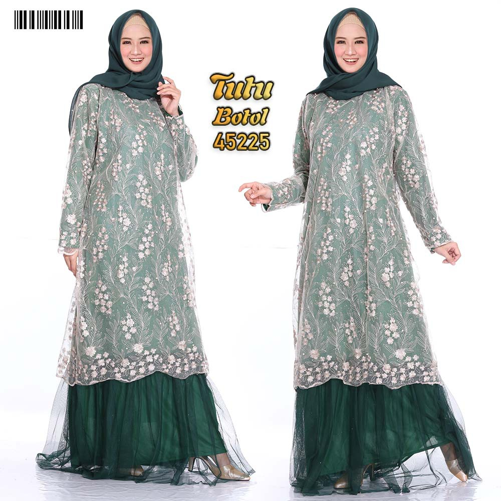 Gamis dress party tutu xxl hijau botol