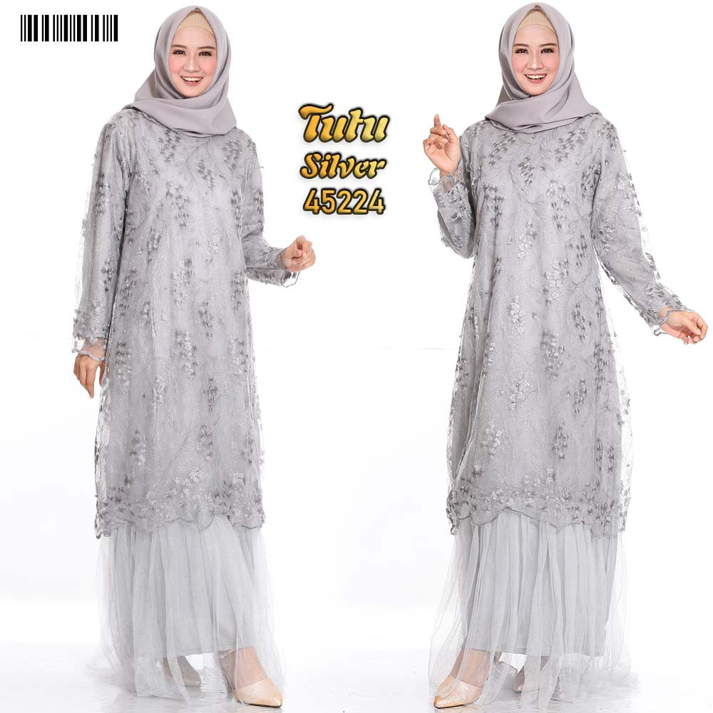 Gamis dress party tutu xxl silver