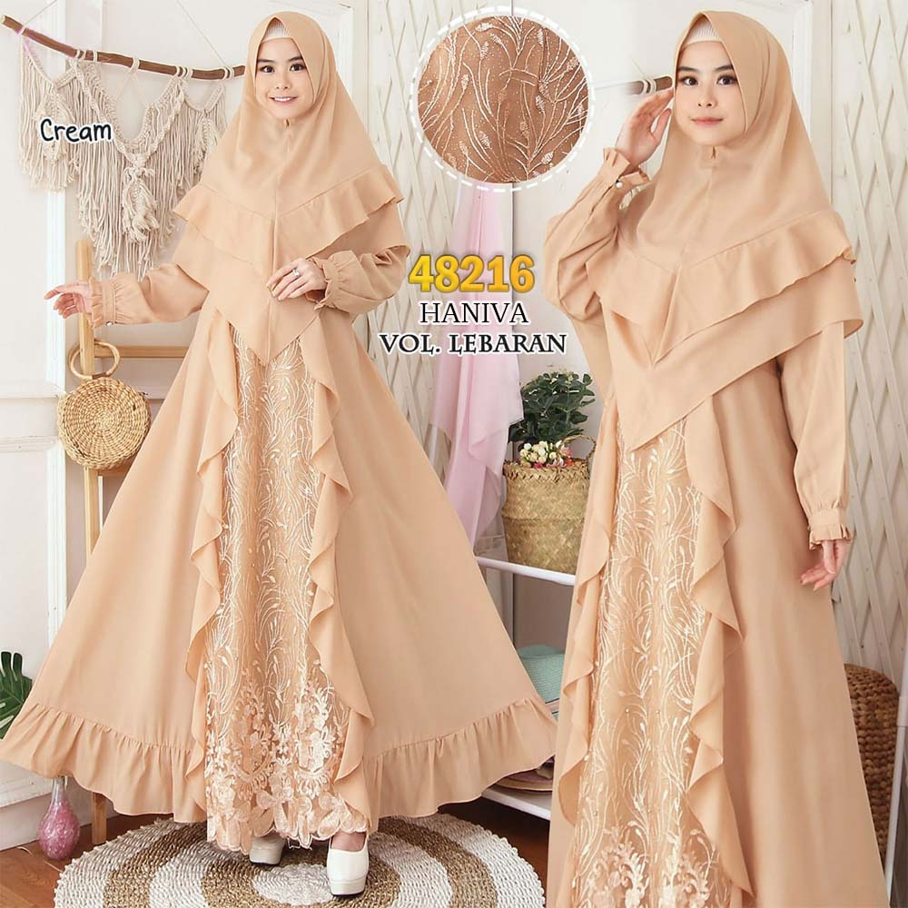 Gamis pesta jumbo new haniva cream