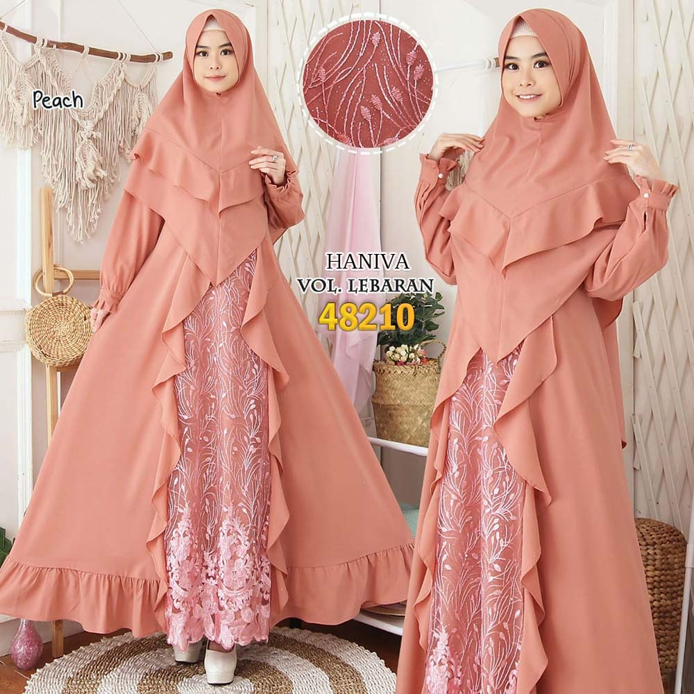 Gamis pesta jumbo new haniva peach