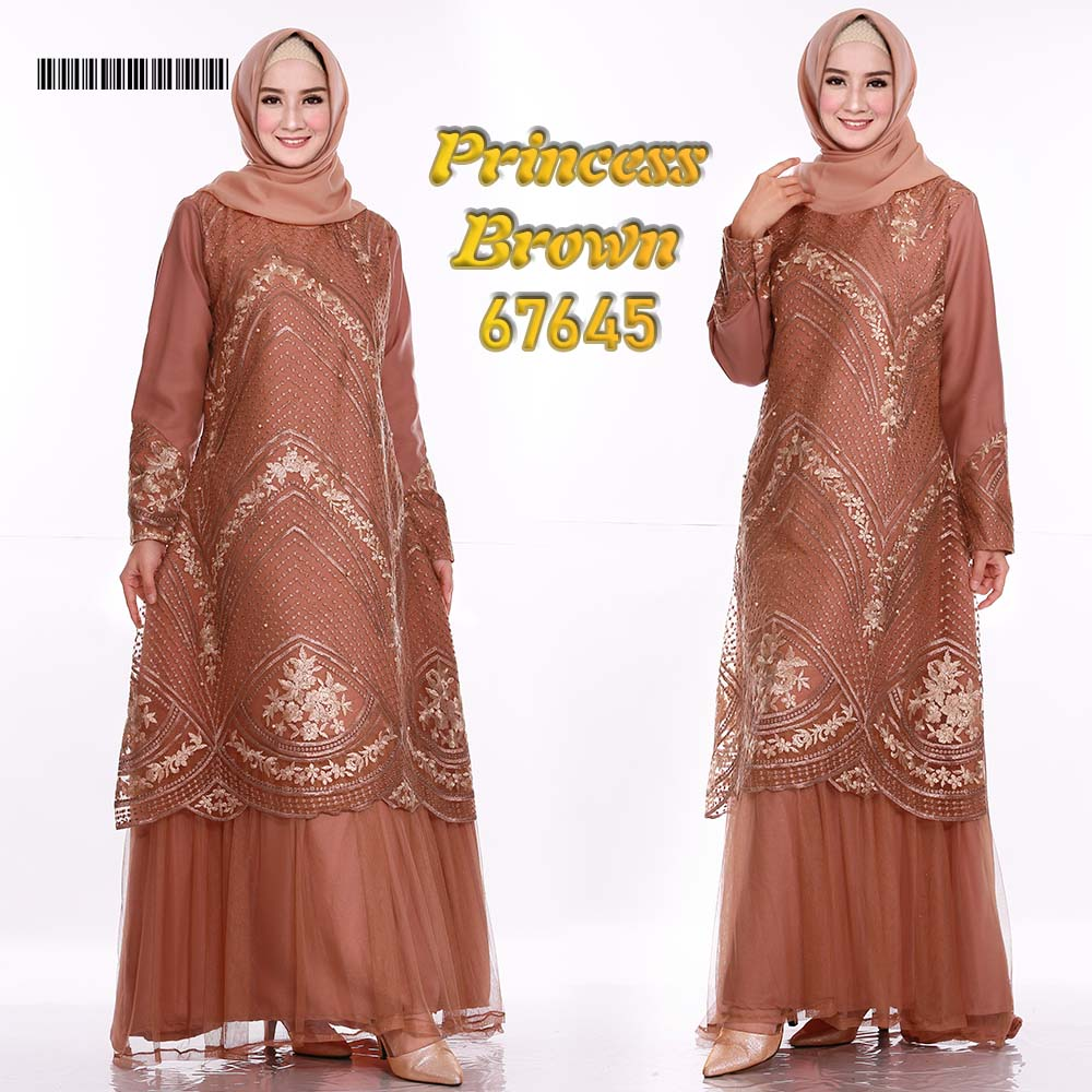 Gamis pesta tile princess brown