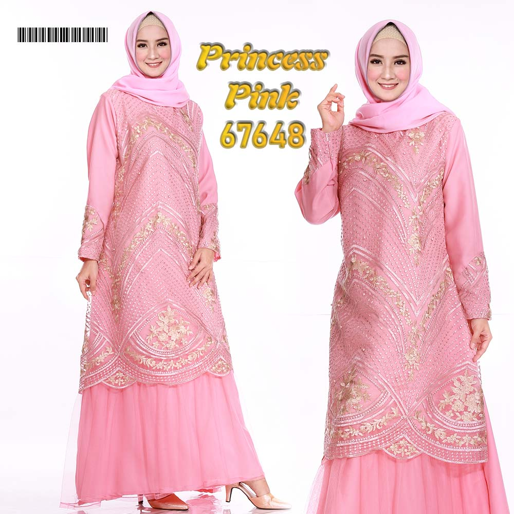 Gamis pesta tile princess pink