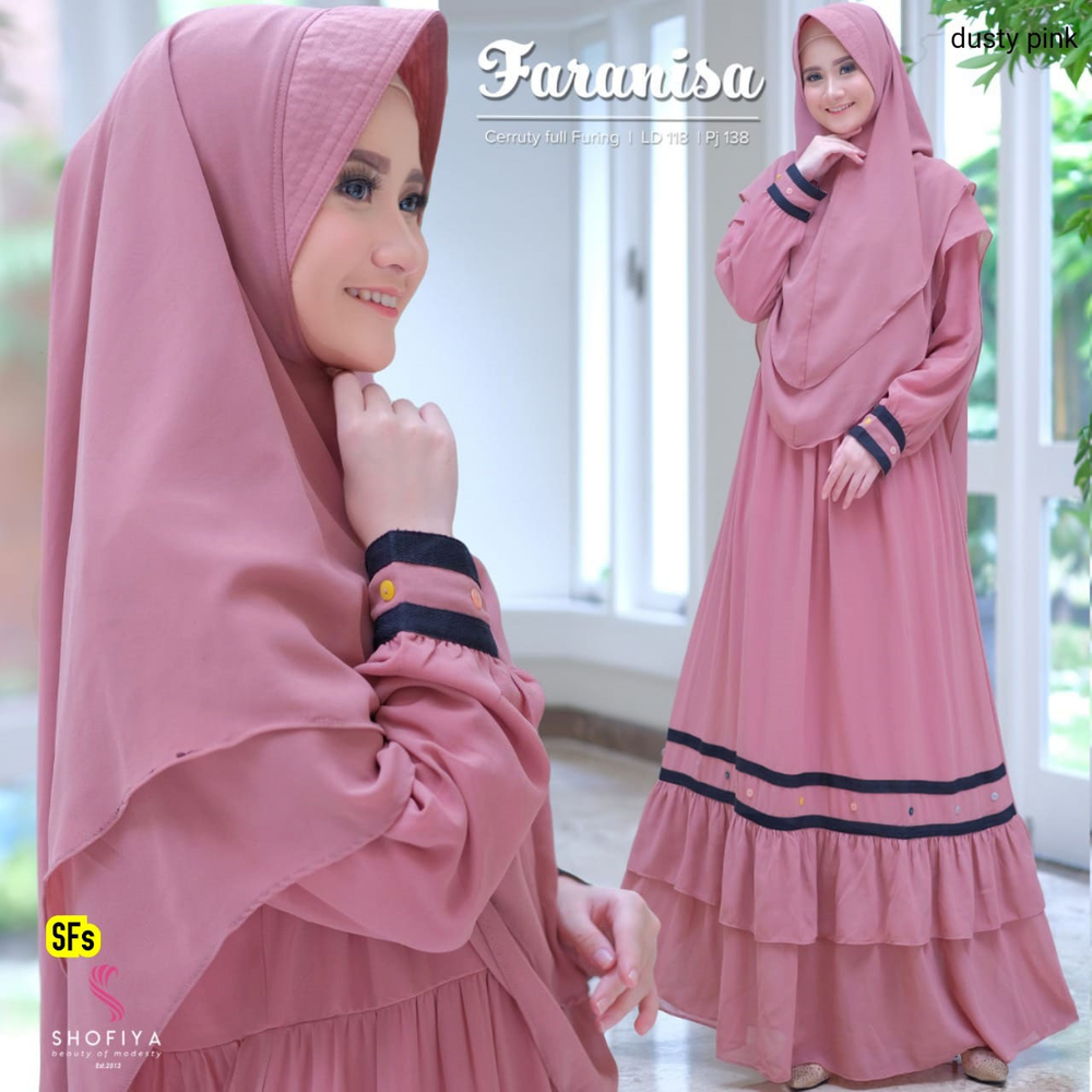 Faranisa syari set dusty pink