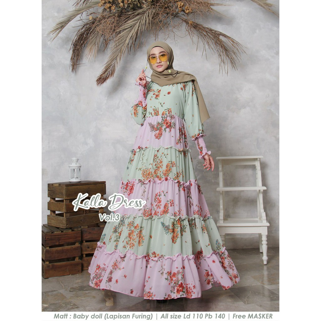 Dress new kalla vol 3 hijau